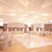 dance floor, chair covers, decor, lighting, marquee, chairs, tables