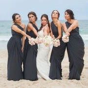 bouquet, bridesmaid dress, beach