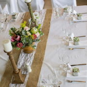 centrepiece, decor, flowers, table setting, candles