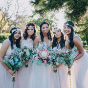 bridesmaids dress, flowers, protea