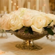 centrepiece, flowers, roses, white