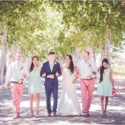 bridal party, bridesmaids, dress, suit