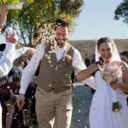 bouquet, bride and groom, confetti