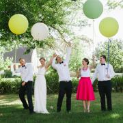 balloon, bridesmaid dress, groomsmen, wedding dress