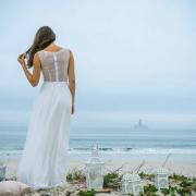 beach, wedding dress